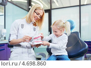 Купить «Веселая девочка на приеме у стоматолога. Врач и пациентка смотрят на макет челюсти», фото № 4698860, снято 21 марта 2013 г. (c) Raev Denis / Фотобанк Лори