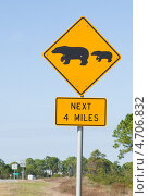 """Купить «Дорожный знак  """"Медведица с медвежатами."""" и """"следующие 4 мили"""". Предупреждает о том, что на дорогу могут выходить дикие животные», фото № 4706832, снято 1 января 2012 г. (c) Ирина Кожемякина / Фотобанк Лори"""