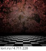 Купить «Старая темная гранж-стена и клетчатый пол», иллюстрация № 4711228 (c) Анна Павлова / Фотобанк Лори