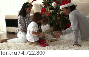 Купить «Happy family discovering the gifts on Christmas day», видеоролик № 4722800, снято 8 декабря 2019 г. (c) Wavebreak Media / Фотобанк Лори