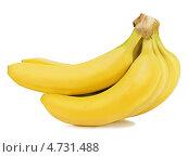 Купить «Связка бананов на белом фоне», фото № 4731488, снято 13 апреля 2013 г. (c) Олег Родионов / Фотобанк Лори