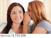 Купить «Рыжеволосая девушка шепчет что-то на ухо подруге», фото № 4733008, снято 4 августа 2011 г. (c) Wavebreak Media / Фотобанк Лори