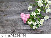 Купить «Ветка жасмина и сердце на деревянном фоне», фото № 4734444, снято 30 мая 2013 г. (c) Олеся Сарычева / Фотобанк Лори