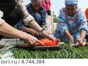 Купить «Разделка лосося (красной рыбы)», фото № 4744384, снято 1 июля 2012 г. (c) А. А. Пирагис / Фотобанк Лори
