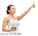 Купить «Красивая девушка подняла палец вверх, взяв что-то на заметку», фото № 4776600, снято 12 января 2013 г. (c) Syda Productions / Фотобанк Лори