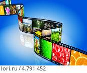 Купить «Фотопленка на синем фоне», иллюстрация № 4791452 (c) Сергей Куров / Фотобанк Лори