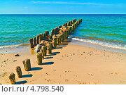 Купить «Пляж, море и волнорез», фото № 4798540, снято 4 мая 2013 г. (c) Сергей Трофименко / Фотобанк Лори