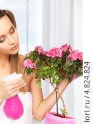 Купить «Красивая домохозяйка ухаживает за комнатным цветком в горшке», фото № 4824824, снято 6 июня 2010 г. (c) Syda Productions / Фотобанк Лори