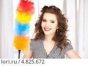 Купить «Счастливая женщина с метелкой для пыли», фото № 4825672, снято 3 января 2010 г. (c) Syda Productions / Фотобанк Лори