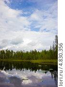 Купить «Летний пейзаж с маленьким озером в северной Карелии», эксклюзивное фото № 4830356, снято 6 июля 2013 г. (c) Наталья Осипова / Фотобанк Лори