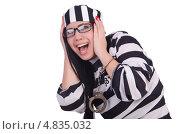 Купить «Испуганная девушка в тюремной форме», фото № 4835032, снято 24 апреля 2013 г. (c) Elnur / Фотобанк Лори