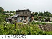 Купить «Хижина - бедный жилой дом с огородом в деревне», фото № 4836476, снято 6 июля 2013 г. (c) Леонид Штандель / Фотобанк Лори