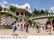 Парадная лестница. Парк Гуэль. Барселона Испания (2013 год). Редакционное фото, фотограф Марат Сабиров / Фотобанк Лори