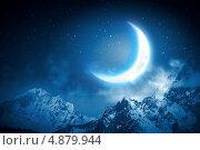 Купить «Красивый фон с ночным небом и луной», фото № 4879944, снято 27 июня 2019 г. (c) Sergey Nivens / Фотобанк Лори