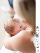 Купить «Вид сверху, малыш сосет грудь», фото № 4887516, снято 31 октября 2011 г. (c) Wavebreak Media / Фотобанк Лори