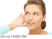 Купить «Девушка прислушивается к сплетням», фото № 4893708, снято 28 августа 2011 г. (c) Syda Productions / Фотобанк Лори