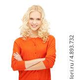 Купить «Привлекательная блондинка сложила у груди руки», фото № 4893732, снято 2 октября 2011 г. (c) Syda Productions / Фотобанк Лори