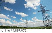 Купить «Электрические мачты», видеоролик № 4897076, снято 25 июля 2013 г. (c) Михаил Коханчиков / Фотобанк Лори