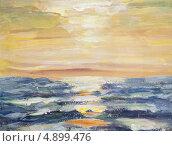 Купить «Этюд. Морской закат. Темпера.», эксклюзивная иллюстрация № 4899476 (c) Виктор Тараканов / Фотобанк Лори