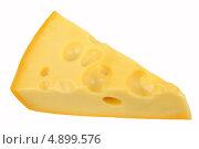 Кусок сыра на белом фоне. Стоковое фото, фотограф Сергей Видинеев / Фотобанк Лори