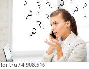 Купить «Молодая офисная сотрудница эмоционально разговаривает по телефону», фото № 4908516, снято 1 июня 2013 г. (c) Syda Productions / Фотобанк Лори