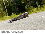 Купить «Фриборд (freebord). Авария. Midnight Sun Longboard Fest», эксклюзивное фото № 4922520, снято 12 июля 2013 г. (c) Валерия Попова / Фотобанк Лори