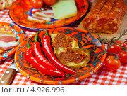Купить «Кухня Калабриии. Южная Италия - чоризо и жидкая острая колбаса Ндуйя», фото № 4926996, снято 21 июня 2013 г. (c) ElenArt / Фотобанк Лори