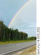 Купить «Радуга за лесом», фото № 4933292, снято 27 июля 2013 г. (c) Александр Романов / Фотобанк Лори