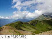 Купить «Пейзаж с вершины горы Аибга канатной дороги Роза Хутор», фото № 4934680, снято 24 июля 2013 г. (c) Светлана Чернокнижникова / Фотобанк Лори