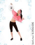 Купить «Спортивная девушка с повязкой на лбу с диско шаром на белом фоне со снежинками», фото № 4954696, снято 5 апреля 2008 г. (c) Syda Productions / Фотобанк Лори
