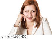 Улыбающаяся зеленоглазая девушка в белом пиджаке. Стоковое фото, фотограф oleksandr gurin / Фотобанк Лори