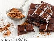Купить «Какао-порошок и кусочки шоколадной плитки на столе», фото № 4975196, снято 20 августа 2013 г. (c) Tatjana Baibakova / Фотобанк Лори