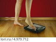 Девушка встает на весы. Стоковое фото, фотограф O.Guerro / Фотобанк Лори