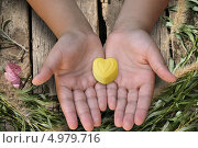 Желтая конфета в виде сердечка в детских ладонях. Стоковое фото, фотограф O.Guerro / Фотобанк Лори