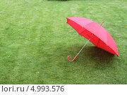 Раскрытый красный зонт на газоне в пасмурную погоду (2013 год). Редакционное фото, фотограф Buyanka / Фотобанк Лори