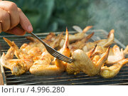 Купить «Приготовление куриных крылышек в выходные дни летом», фото № 4996280, снято 22 августа 2013 г. (c) Сергей Чайко / Фотобанк Лори