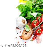 Купить «Базилик и свежие овощи», фото № 5000164, снято 16 августа 2013 г. (c) Наталия Кленова / Фотобанк Лори