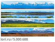 Коллаж из панорам горных пейзажей разных времен года. Стоковое фото, фотограф Виктория Катьянова / Фотобанк Лори