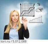 Купить «Привлекательная деловая женщина демонстрирует развернутую бизнес схему», фото № 5012088, снято 13 июня 2013 г. (c) Syda Productions / Фотобанк Лори