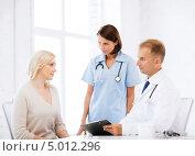 Купить «Молодая женщина в клинике на приеме у врача», фото № 5012296, снято 6 июля 2013 г. (c) Syda Productions / Фотобанк Лори