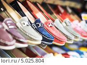 Купить «Полки с обувью в магазине», фото № 5025804, снято 10 апреля 2013 г. (c) Дмитрий Калиновский / Фотобанк Лори