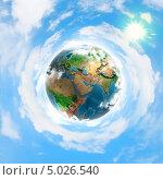 Купить «Красивый фон с планетой Земля среди облаков», фото № 5026540, снято 20 ноября 2017 г. (c) Sergey Nivens / Фотобанк Лори