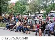 Купить «Москва, День города на Тверском бульваре», эксклюзивное фото № 5030948, снято 7 сентября 2013 г. (c) Илюхина Наталья / Фотобанк Лори
