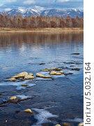 Осень. Ледяные забереги на реке Иркут. Стоковое фото, фотограф Виктория Катьянова / Фотобанк Лори