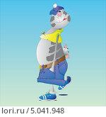 Кот с сосиской. Стоковая иллюстрация, иллюстратор Марина Дычек / Фотобанк Лори