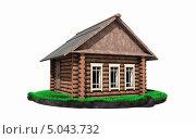 Деревянная изба с трубой на траве. Стоковая иллюстрация, иллюстратор Руслан Багаутдиинов / Фотобанк Лори