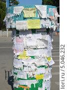 Купить «Тумба с объявлениями на улице провинциального города», эксклюзивное фото № 5046232, снято 25 июня 2013 г. (c) Володина Ольга / Фотобанк Лори