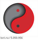 Красно-серый символ Инь-Янь. Стоковая иллюстрация, иллюстратор Алекс Секрет / Фотобанк Лори