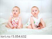 Купить «Удивленные годовалые девочки», фото № 5054632, снято 26 октября 2012 г. (c) Андрей Армягов / Фотобанк Лори