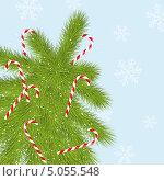 Новогодняя елка с леденцами на голубом фоне со снежинками. Стоковая иллюстрация, иллюстратор Евгения Малахова / Фотобанк Лори